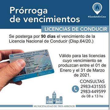 Prórroga licencias de conducir