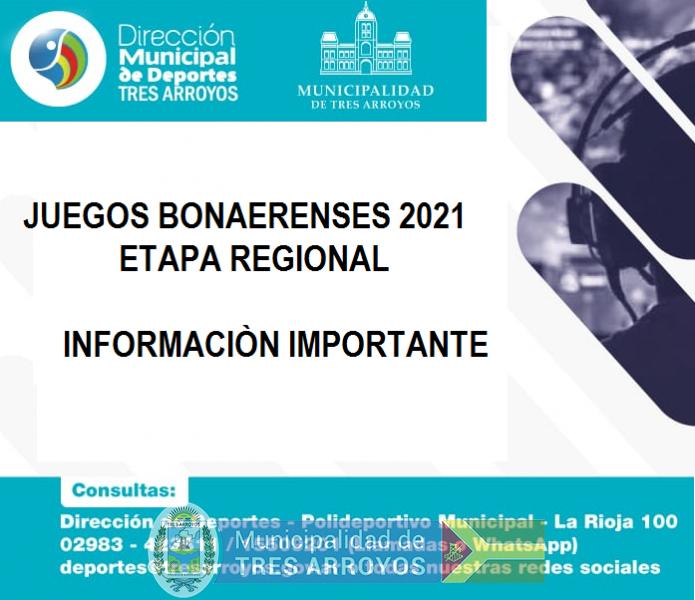 imagen 1 de la noticia JUEGOS BONAERENSES - ETAPA REGIONALpublicada el 2021-07-27