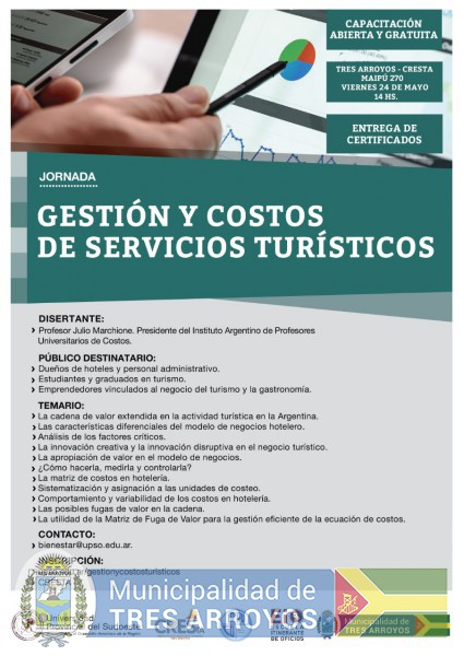 imagen 1 de la noticia CRESTA realizará jornada de Gestión de Costos y servicios turísticospublicada el 2019-05-21