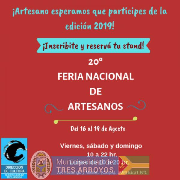 imagen 1 de la noticia Se encuentra abierta la inscripción a la 20º Feria Nacional de Artesanos publicada el 2019-06-25