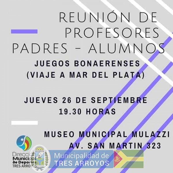 imagen 1 de la noticia Final Juegos Bonaerenses: Reunión de profesores, padres y delegación publicada el 2019-09-09