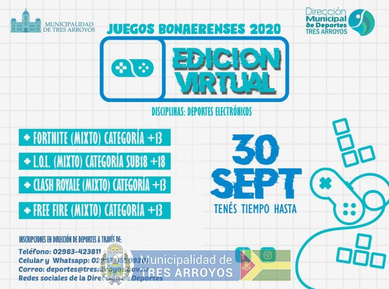 imagen 2 de la noticia ABIERTA LAS INCRIPCIONES PARA LOS JUEGOS BONAERENSES EN DEPORTES VIRTUALpublicada el 2020-08-13