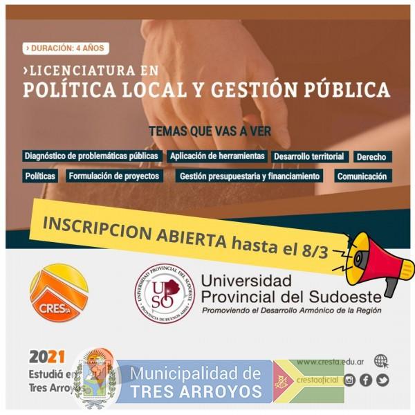 imagen 1 de la noticia Licenciatura en Política Local y Gestión Pública - Tec Universitaria en Gestión de Energía Renovables y Convencionales en CRESTApublicada el 2021-02-26