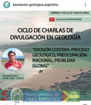 """imagen 1 de la noticia Dr. Federico Isla expondrá sobre """"Erosión Costera : proceso geológico, preocupación nacional, problema global"""".publicada el 2021-07-02"""