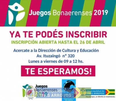 imagen 1 de la noticia JUEGOS BONAERENSES 2018: INSCRIPCIONES DISCIPLINAS CULTURApublicada el 2019-03-20